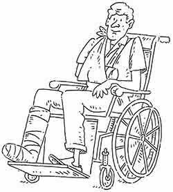 Simulierender Mitarbeiter im Rollstuhl.